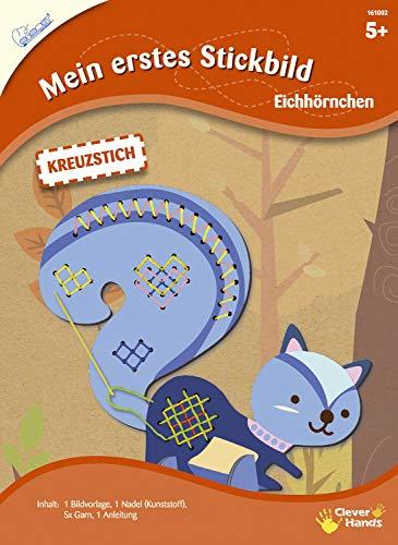 MAMMUT 161002 - Mein erstes Stickbild, Tiermotiv, Eichhörnchen, Komplettset mit Bildvorlagein Tierform, Nadel (Kunststoff), 5x Garn und Anleitung, Bastelset für Kinder ab 5 Jahre