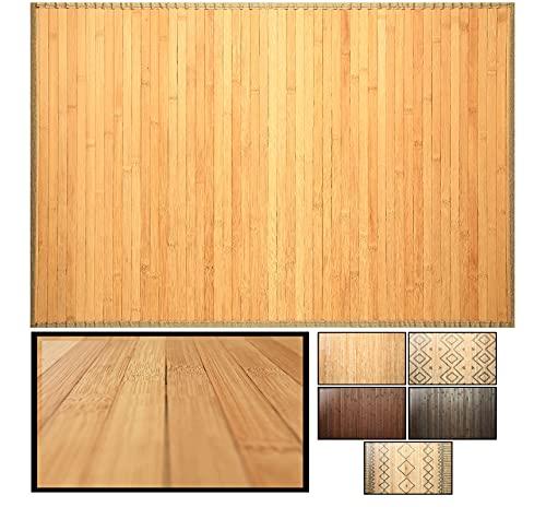 LucaHome – Alfombra bambú Uganda Ideal para Interior o Exterior, Alfombra bambú para Cocina, salón, despacho, Dormitorio con Cenefa, Alfombra de bambú Antideslizante (Natural, 60x90cm)