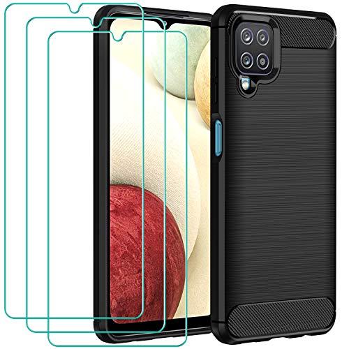ivoler Funda para Samsung Galaxy A12 / Samsung Galaxy M12 con 3 Unidades Cristal Templado, Fibra de Carbono Carcasa Protectora Antigolpes, Suave TPU Silicona Caso Anti-Choques Case Cover - Negro