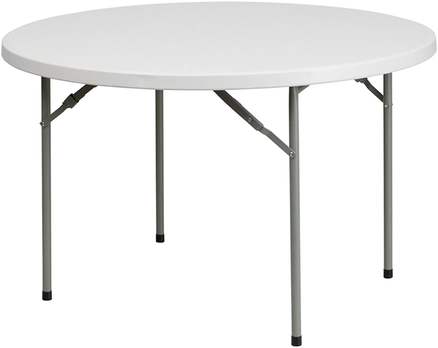 Offex OF-RB-48R-GG Round Granite Plastic Folding Table, 48-Inch, White