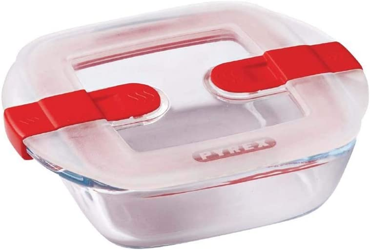 Pyrex Cook&Heat Recipiente de Almacenamiento y Transporte de Alimentos, Vidrio borosilicato, Multicolor