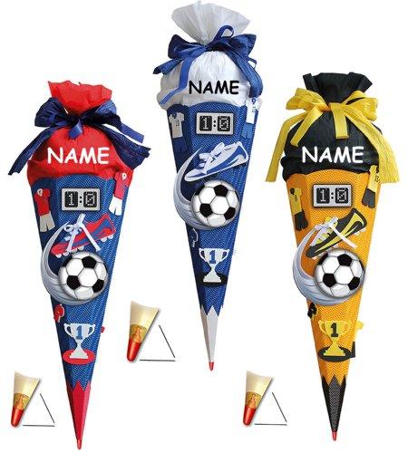 alles-meine.de GmbH BASTELSET Schultüte - Fußball 85 cm - incl. Namen - mit Holzspitze - Zuckertüte Roth - ALLE Größen - 6 eckig Fußballer Fussball Sport Jungen rot blau