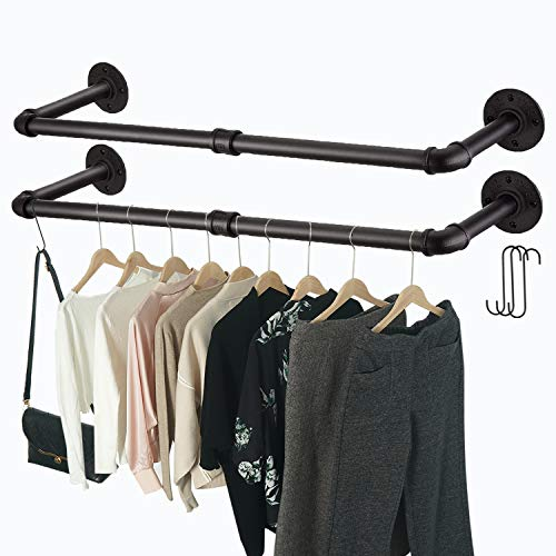 Crehomfy Industrial Pipe Clothes Rack with 3 SShaped Hooks 36'#039L Wall Mounted Garment Rack Heavy Duty Iron Garment Bar Clothes Hanging Rod Bar for Laundry Room Max Load 135Lb Black 2 Package