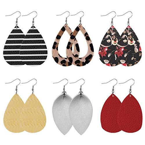 Leather Earrings Set, 6 Pairs Leather Earrings for Women Teardrop Drop Dangle Earrings, Mix Style