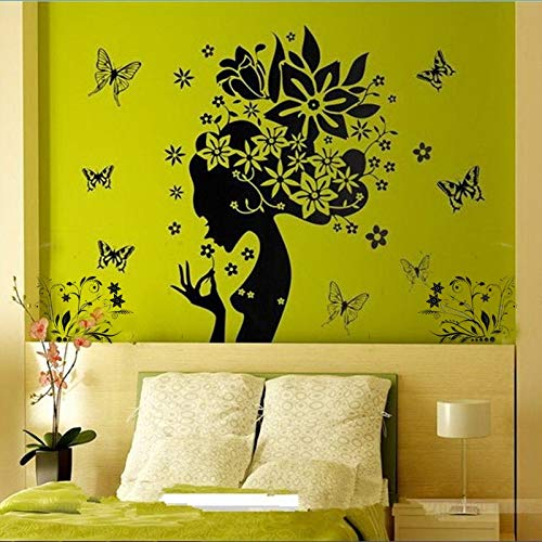 MMLFY Muursticker Muursticker Mooie vlinder bloem fee meisjes PVC behang Muursticker mode hoofddecoratie Decor aftrekplaatjes 50 cm * 70 cm Muursticker