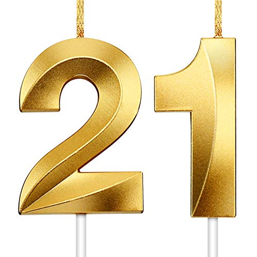 Hicarer 2 Pieces Number Candle Gold Glitter Candles Decorative Birthday Cake Candles Birthday Cake Topper Decoration for Wedding Birthday Anniversary Celebration Graduation (Number 21)