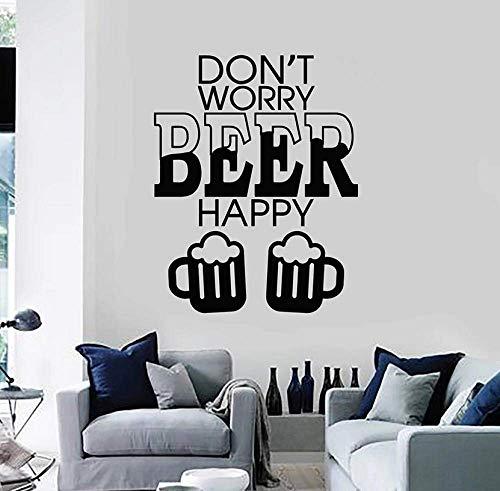 Citas Tatuajes De Pared No Te Preocupes Cerveza Feliz Alcohol Vinilo Vinilos Para Ventanas Bar Discoteca Fiesta Decoración De Interiores Letras Mural 42X53Cm