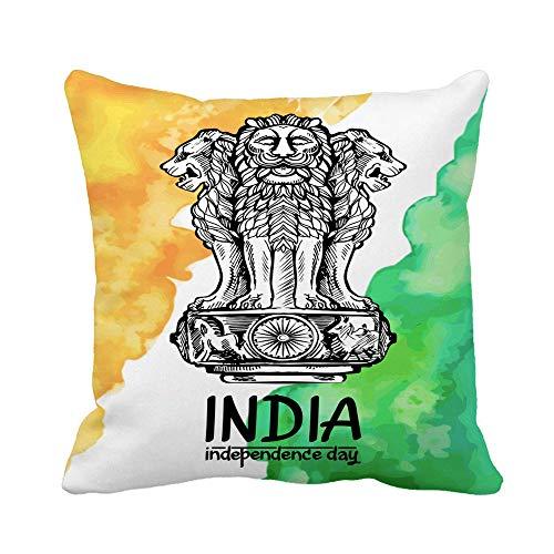 shenhaimojing Acuarela León Capital De Ashoka En Color Emblem India Funda De Almohada Cuadrada,Funda De Almohada