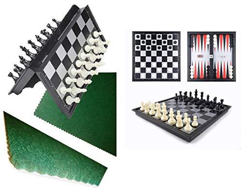 Ousdy 3 en 1 Juego de ajedrez magnético de Viaje, Juego de ajedrez para niños Adultos y niños con Tabla de Almacenamiento portátil Plegable, 32 x 32 X2cm con tapete de Fieltro de 50x50cm Verde