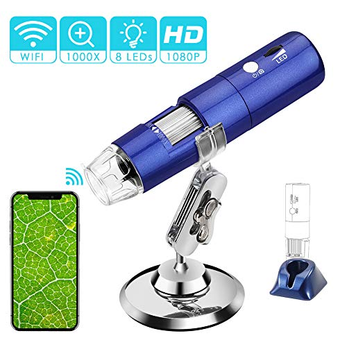 ROTEK USB WiFi Mikroskop, Digital Mikroskop 2 MP Kinder Mikroskop Kamera 1000X Zoom 1080P Full HD mit 8 LED, Mini Mikroskop für Kinder für Handy iPhone ios Android ipad PC Windows, Mac
