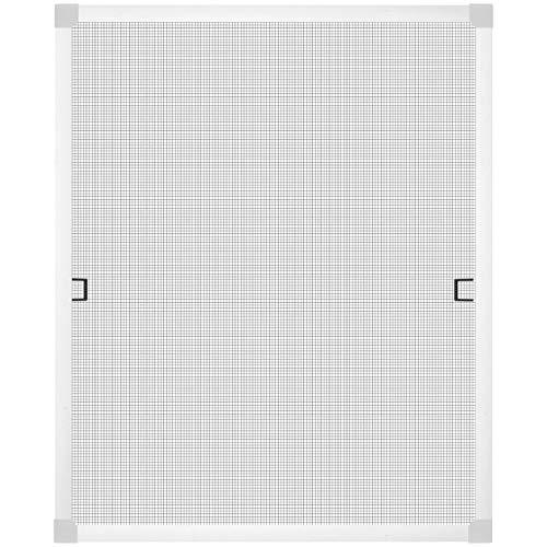 Insektenschutz-Gitter Spannrahmensystem für Fenster - ganz ohne Bohren montierbar - Fliegengitter aus Aluminium individuell kürzbar weiß (120 x 150 cm)