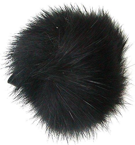 Ensuite Echt Kaninchenfell Fellbommeln schwarz, Ø ca. 5 cm, mit Lederschlaufe