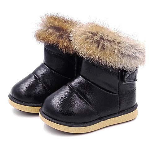 FJWYSANGU Toddler Girl Warm Winter Snow Boots Plush Inner Outdoor Boots Waterproof Walking Shoes Flat Easy on for Toddlers Little Girls Black