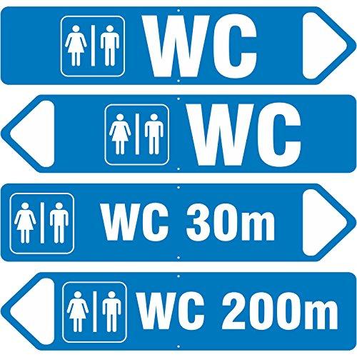 Schild WC mit Pfeil RECHTS 3mm Aluverbund in Pfeilform 50 x 11 cm