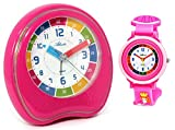 KAU 1953/17 - Despertador infantil sin tic-tac, con reloj de pulsera, color rosa