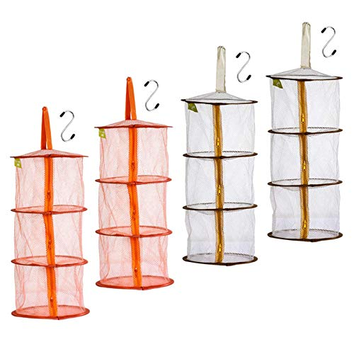 AUHOTA 4Pcs Colgante de Malla de Organizador con S Gancho, 3 Niveles Plegable Almacenamiento Cesta Espacio Organizador para Peluches de Juguetes, Pequeños Colethes (2 Naranjas + 2 Cafés)