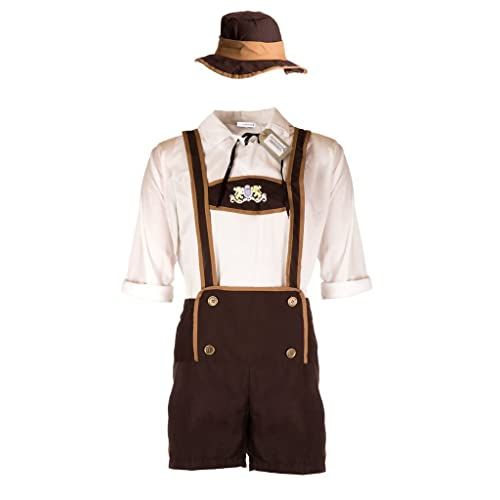 a01a0d106fae8 Emmas Wardrobe Men's Oktoberfest Beer Costume - Includes White Shirt with  Lederhosen - Festive German Outfit