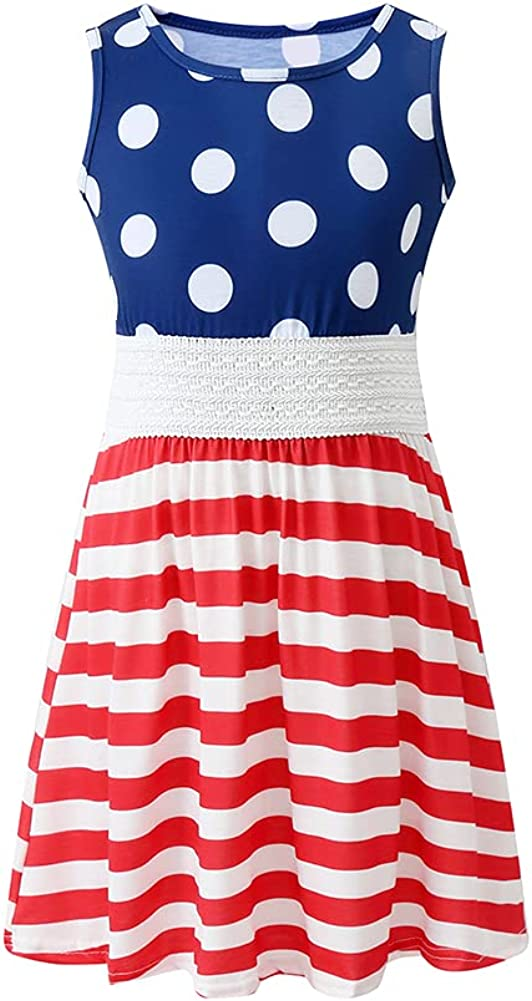 Luckygal Little Girls 4th July Dresses Kids American Flag Summer Dress Clothes