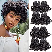 Brazilian curly hair 8 bundles Short Spiral Curl human hair bundles Unprocessed Ocean Wave Hair Wet and Wavy Human Hair Bundles curly bob weave hair Extensions Total 200g