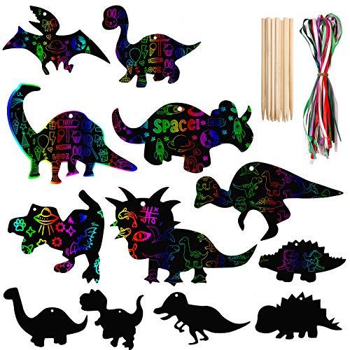 Kratzbilder Weihnachten Set, Vintoney 48 Stück Dinosaurier kratzbild Bastel Kunst Set lesezeichen für Weihnachtsdekoration Weihnachten Anhänger Weihnachtsbaum für kinder jungen erwachsene