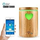 AOZBZ WiFi Smart Diffusore Olii Essenziali Google Home e App Controllo, bambù Naturale 4 in 1 Ultrasuoni Diffusore di Aromi, Umidificatore Nebbia, Purificatore d'Aria, e RGB Colorato Luce a LED 160ML