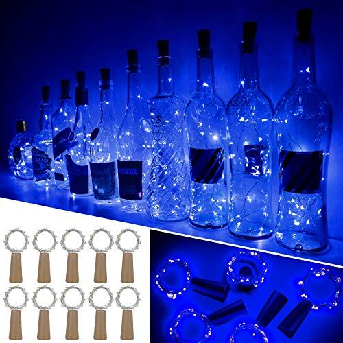 Ariceleo Luci Bottiglia, 10 Pezzi 20 LED 2 Metro a Batteria Rame Filo Set Vino Bottiglia Tappo Stringa Luci con Sughero Catena per Natale Matrimonio Halloween Giardino Feste Lucine(Blu)