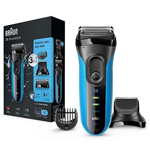Braun Series 3 Shave & Style 3010BT 3 In 1 Rasoio da Barba Elettrico a Lamina Wet & Dry con Rifinitore di Precisione, Regolabarba Uomo, Nero/Blu