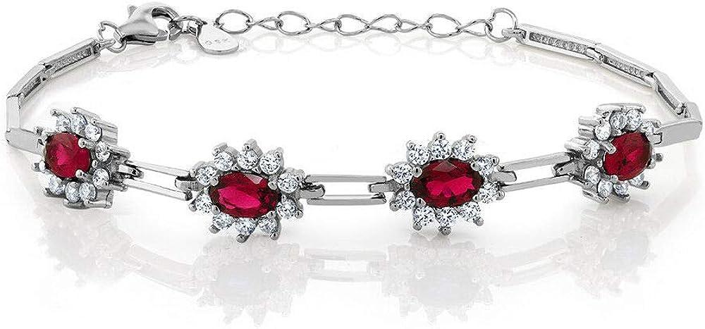 1 Ct Oval Ruby  Sim Diamond Women's Tennis Bracelet 14k White G