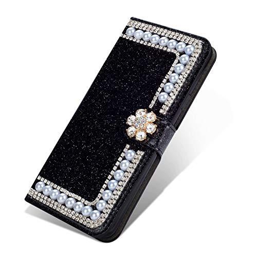 Nadoli Leder Hülle für Huawei P30,Bling Glitzer Diamant 3D Handyhülle im Brieftasche-Stil Blume Perle Flip Schutzhülle Etui für Huawei P30,Schwarz