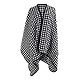Monique Women Vintage Reversible Houndstooth Scarf Large Shawl Winter Warm Cashmere-like Wrap Open Front Cardigan Poncho Cape Sweater Black
