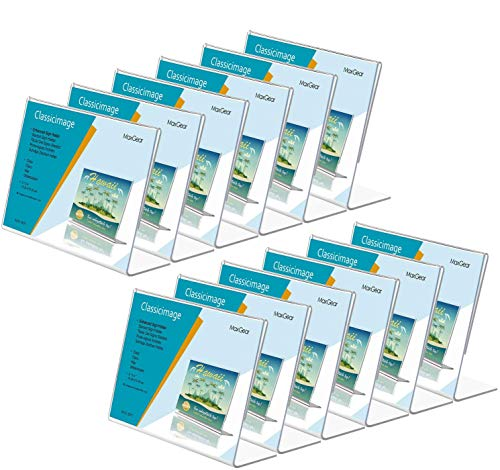 MaxGear Sign Holder 4X6 inches Slant Back Acrylic Sign Holders Plastic Display Stand Clear Paper Holder Tabletop Display Holder Sign Stands for Office, Home, Store, Restaurant - Landscape, 12 Pack