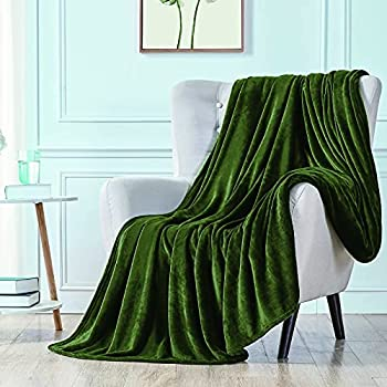 """Walensee Fleece Blanket Plush Throw Fuzzy Lightweight  Throw Size 50""""x60"""" Olive Green  Super Soft Microfiber Flannel Blankets for Couch Bed Sofa Ultra Luxurious Warm and Cozy for All Seasons"""