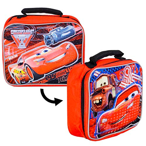 Disney Cars Lunch Box for Boys Kids Bundle ~ Premium 2-Sided Insulated Lightning McQueen Lunch Bag (Disney Cars School Supplies)