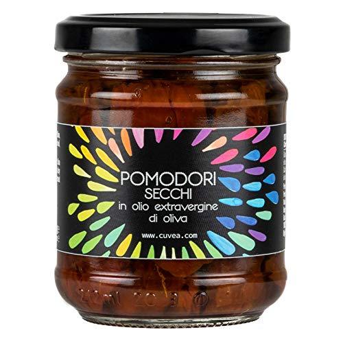 Cuvea - Tomates secos italianos en aceite de oliva virgen extra 190 g - Tomates secos 100% italianos - Sin conservantes ni colorantes: solo 3 ingredientes