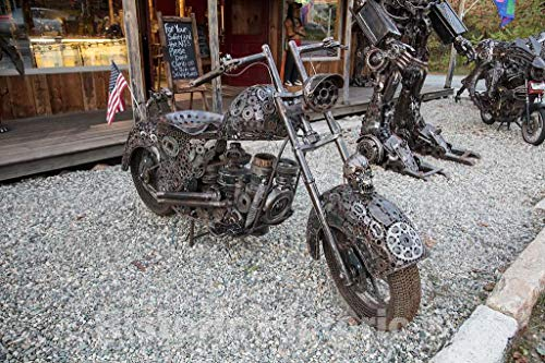 Historic Pictoric Photo - Metal-Art Motorcycle at The Indian Brook Trading Co. Antiques and Collectibles Store in Bethlehem, New Hampshire- Fine Art Photo Reporduction 24in x 16in