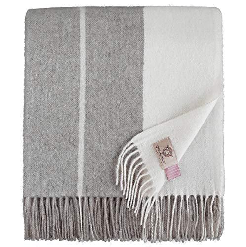 Linen & Cotton Flauschige Warme Decke Wolldecke Merino Wohndecke Kuscheldecke Gestreift Anna - 100% Weicher Merinowolle, Grau/Creme (140 x 200cm), Sofadecke/Tagesdecke/Überwurf/Blanket Schurwolle