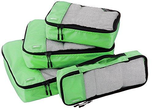Amazon Basics Kleidertaschen-Set, 4-teilig, je 1 kleine, mittelgroße, große und schmale Packtasche, Grün