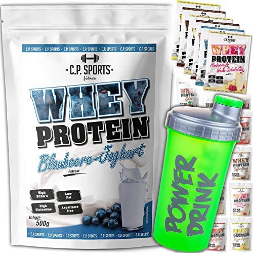 C.P. Sports Whey Protein - 500g Beutel Cookies & Cream, Molkeneiweiß, Eiweißprodukt, Proteinkonzentrat + C.P. Sports Shake grün Power Drink + C.P. Sports 6 Whey Protein Testbeutel 25 g