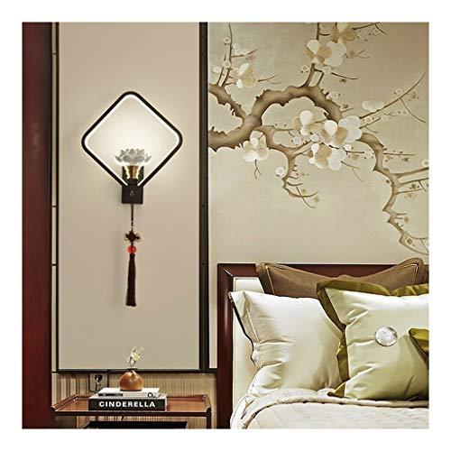 Applique Murale Carrée, Chinois Lotus Céramique Style Décoratif Lampe, Mur Extérieur Sconce Intérieur Éclairage de Profil Bas Moderne, for Chambre Salon Bureau
