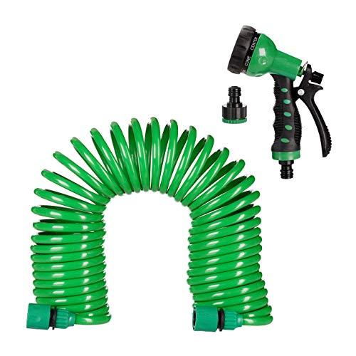 Relaxdays Gartenschlauch mit Brause, flexibel ausziehbar bis 10m, Spiralschlauch, Gartenbrause 7 Strahlarten, Wasserschlauch, grün