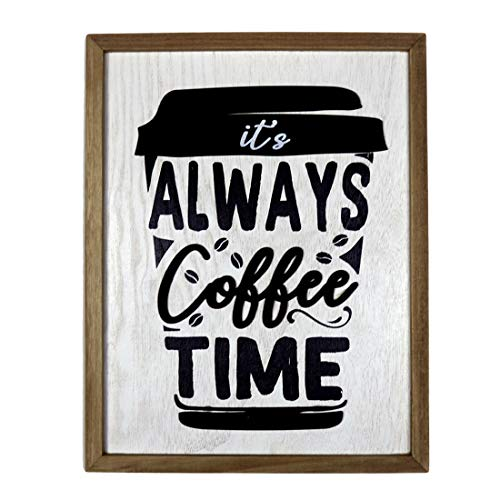 HOMirable Coffee Sign, It's Always Coffee Time, Wood Home Wall Décor, Rustic Farmhouse Decoration, Hanging Sign Wall Plaque Art