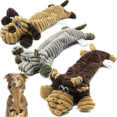 Squeaky Dog Toys Indestructible, No Stuffing Plush Dog Toys for Large Dogs, Interactive Dog Chew Toys with 2 Squeakers, Durable Tough Dog Toys Non-Toxic & Safe for Puppy Small and Medium Dogs