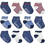 12 Pairs Non-Slip Toddler Socks With Grips for Baby Boys and...