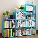Mauccau 9-Cube Storage Book Shelf Organizer for Kids Adjustable Bookcase Classroom Organization Storage Cabinet Shelves Unit (Blue)