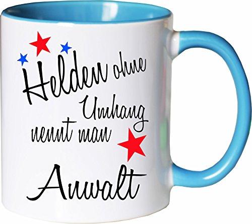 Mister Merchandise Becher Tasse Helden ohne Umhang nennt Man Anwalt Kaffee Kaffeetasse liebevoll Bedruckt Beruf Job Geschenk Weiß-Hellblau