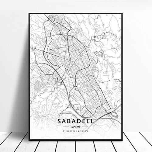 lubenwei Puerto De La Cruz Sabadell Las Palmas Seville Almeria Zaragoza Spain Map Poster 50x70cm Sin Marco AQ-716