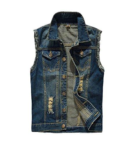 Top Hommes Classique Slim Rétro Destoryed sans Manches Denim Gilet Casual Jeans Gilet Veste Poches Cowboy Gilet Outwear