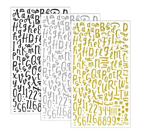 QQ&U Glitter Cursive Alphabet Letter and Number Stickers (3: Black, Silver, Gold)