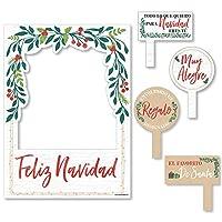 Big Dot of Happiness Feliz Navidad - ホリデーとスペインのクリスマスパーティーフォトブース写真フレームと小道具 - 丈夫な素材に印刷。