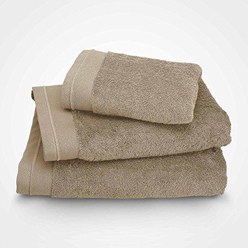 BLANC CERISE Serviette de Toilette - Coton peigné 600 g/m² -Sable 100x150 cm